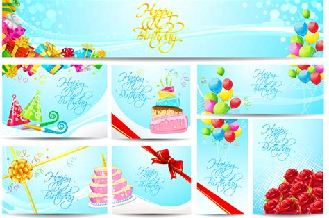 happy birthday design elements happy birthday cards design with elements vector download