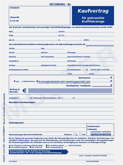 autokaufvertrag blau autoverkaufshilfen vom spezialdrucker