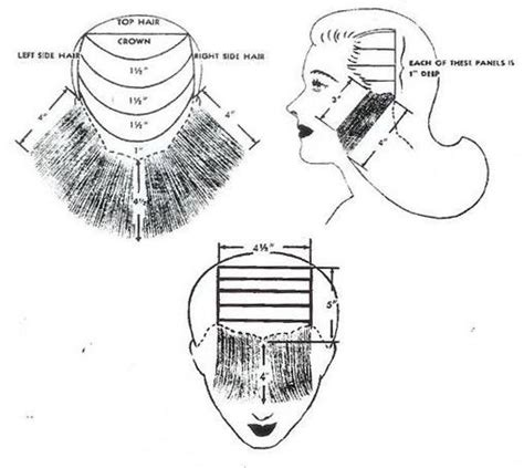 diagram of short haircuts middy plus diagram google search 40s 50s inspiration