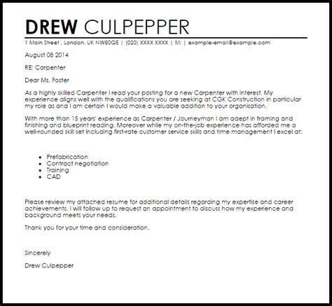 Carpenter Cover Letter Sample   LiveCareer