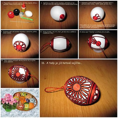 Pinecone Decor Diy Decorated Easter Eggs With Threads