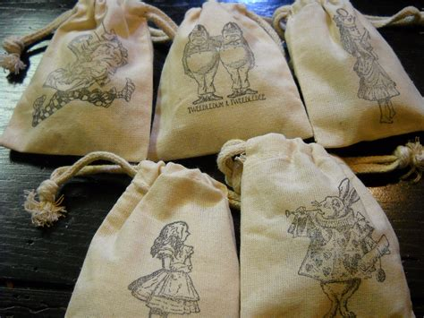 Alice In Wonderland Party Giveaways - alice in wonderland party favors muslin party bags treat