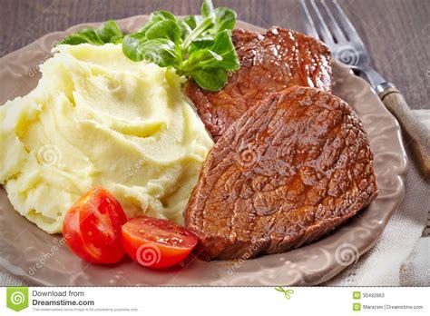 Hotplate Steak Potatoes mashed potatoes and beef steak stock image image of prepared kitchen 30492863