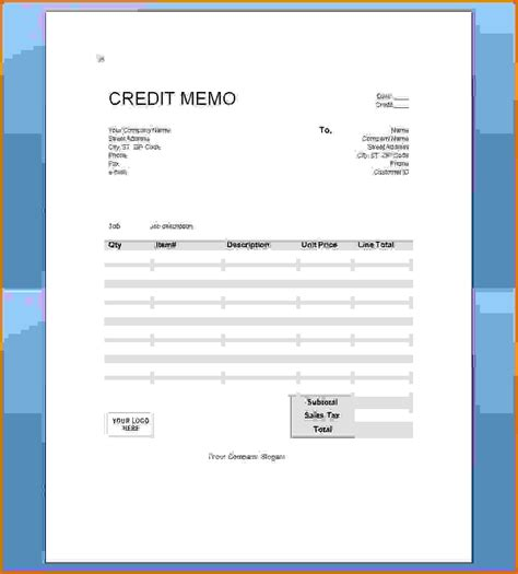 credit note template doc a credit memo is a document thatreference letters words