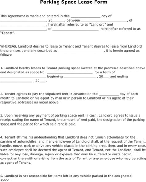 Download Parking Lease Template For Free Formtemplate Parking Lease Template