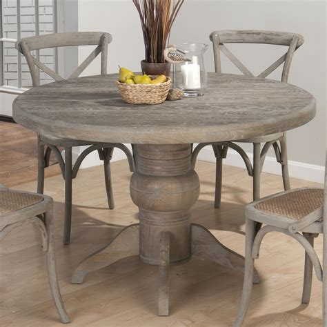 Gray Dining Tables Jofran Burnt Grey Pedestal Dining Table In Solid Oak Beyond Stores