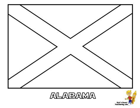 Patriotic State Flag Coloring Pages Alabama Hawaii Flag Coloring Page