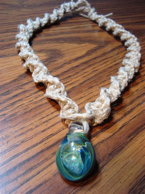 Unique Hemp Knots - blue green glass pendant spiral knot hemp necklace by