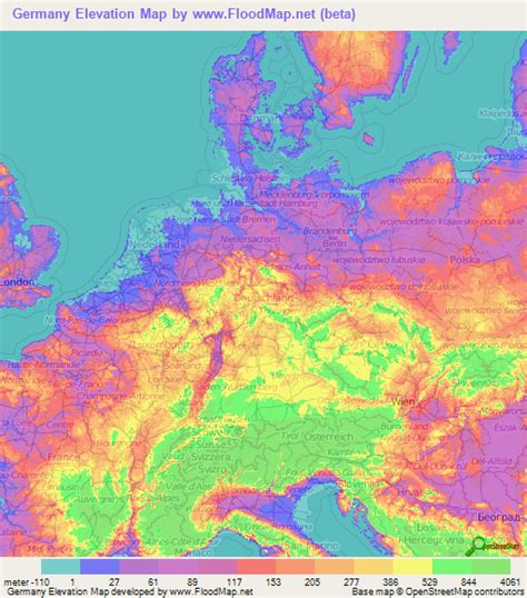 topographic map germany germany elevation and elevation maps of cities