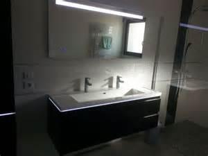 photo vasque et miroir sanijura 140cm avec led