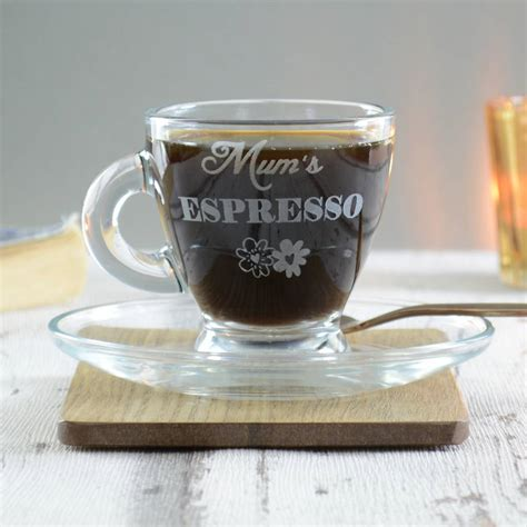 mum personalised espresso glass cup and saucer by chalk
