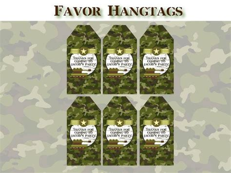 free printable army party decorations army birthday party favor tags printable camo army