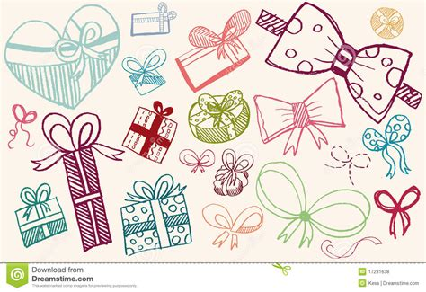 doodle ribbon free doodle set gifts and ribbons royalty free stock photos