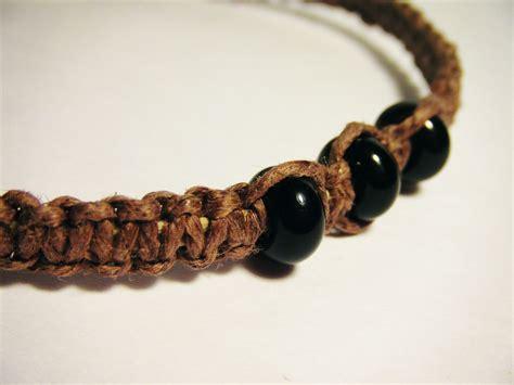 Handmade Hemp Bracelets - made brown hemp bracelet with black glass by