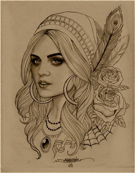 tattoo girl drawing gypsy print by b2rianls on etsy 12 00 the gypsy in me