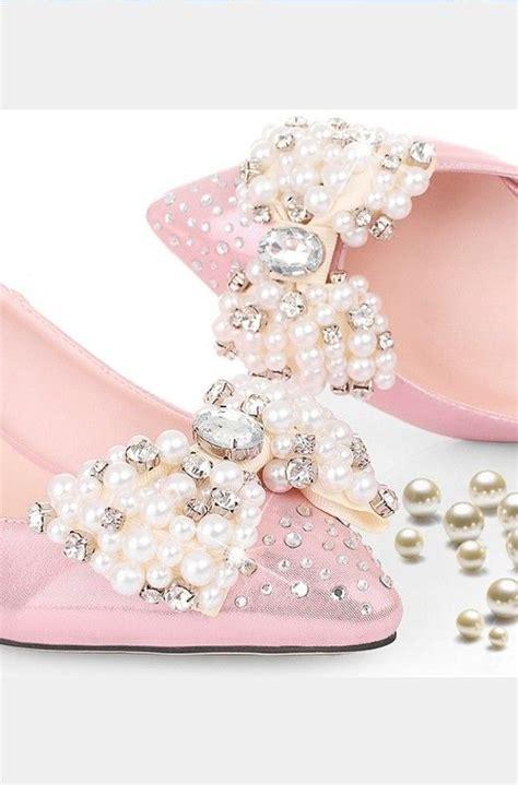 Pearl Pink Shoes rhinestone pearl shoes rhinestone pearl pink low heel
