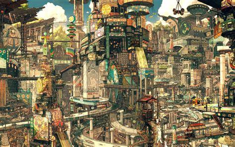 wallpaper for walls cityscape asian cityscape wallpaper fantasy wallpapers 14578