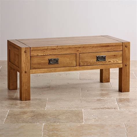quercus rustic solid oak coffee table with 4 drawer storage