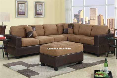 modern brown microfiber sectional sofa furniture