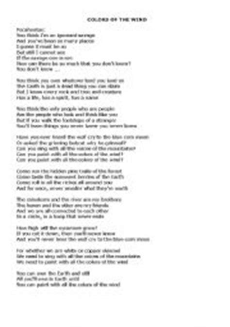 lyrics colors of the wind teaching worksheets colours