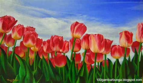 gambar lukisan pemandangan bunga tulip di belanda gambar bunga