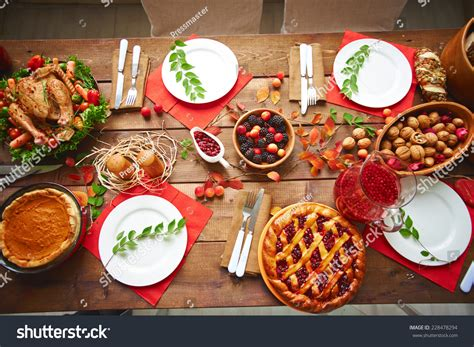 cuisine festive lots traditional festive food on wooden stock photo