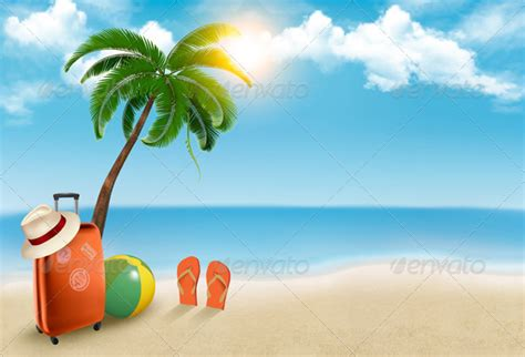 cartoon vacation wallpaper vacation background on beach by almoond graphicriver