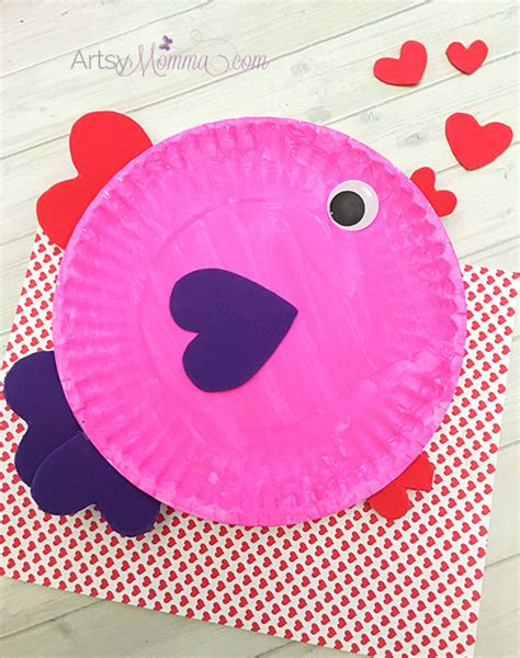 Paper Craft Valentines - paper plate s day fish with shapes artsy