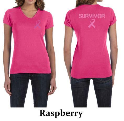 ladies shirt pink ribbon survivor front amp back print v