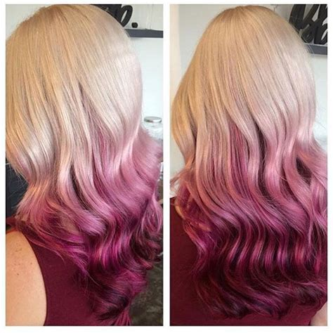 cranberry hair color with cranberry pink ombre dip dyed hair credits to