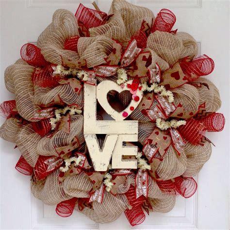 valentines mesh wreath button burlap valentines day deco mesh wreath