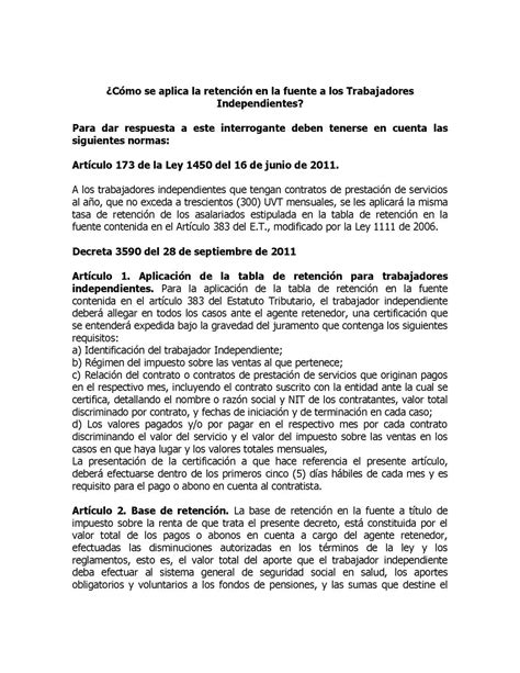 tabla retenciones 2016 para trabajadores independientes tabla para liquidar retencin a trabajadores independientes