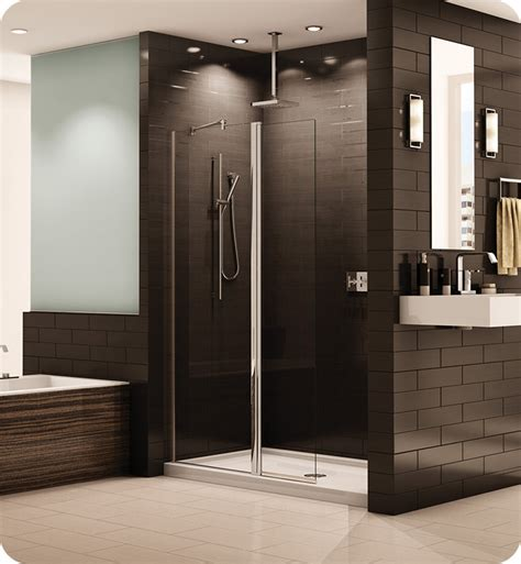 Banyo Shower Doors Fleurco Ess24 11 40 Banyo Siena Semi Frameless In Line Pivot Shower Shield With Hardware Finish