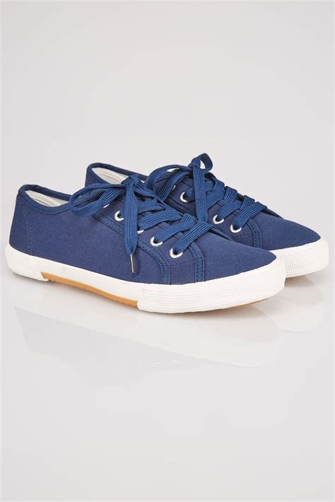 trainers c 5 10 12 navy lace up gumsole canvas trainers in eee fit size 4 9