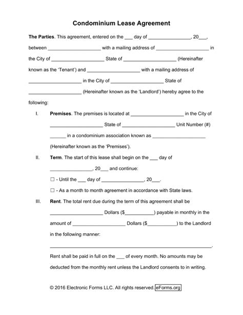 free condominium condo rental agreement template word