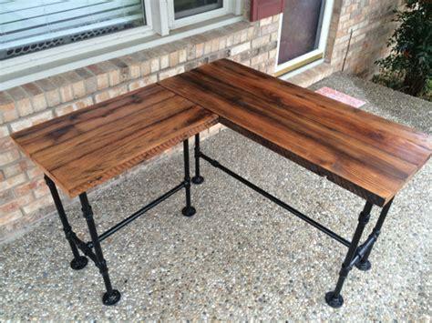 black iron pipe desk reclaim wood desk l solid oak w 28 black iron