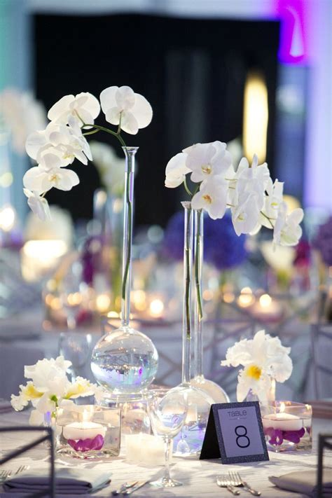 Phalaenopsis Orchid Centerpiece Planning Our Modern Purple Blue White Wedding At Contemporary