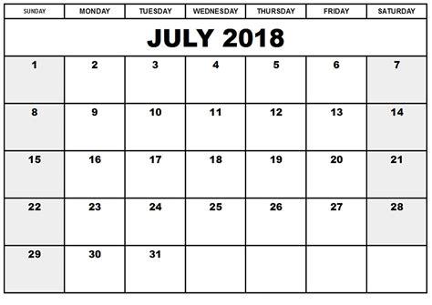 calendar template july 2018 free july 2018 calendar printable blank templates word