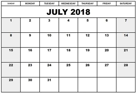 july calendar printable format templates