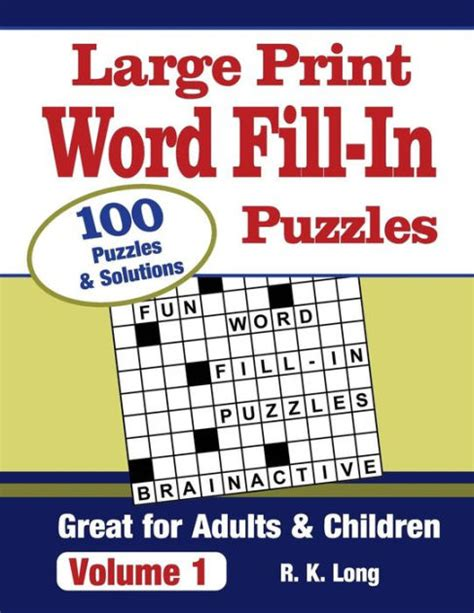 large print word fill  puzzles volume   full page word fill  puzzles great  adults