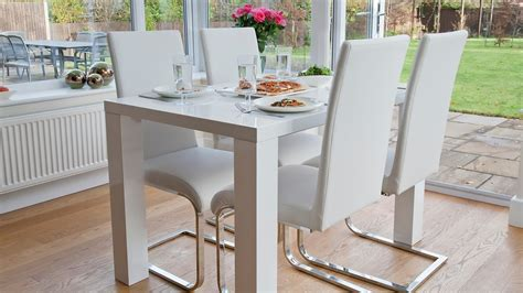 4 seater dining room table and chairs 4 seat dining set white gloss table cantilever chairs