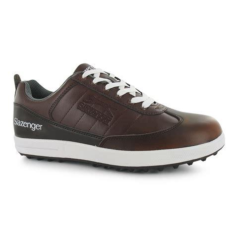 slazenger casual golf shoes mens brown golfing footwear
