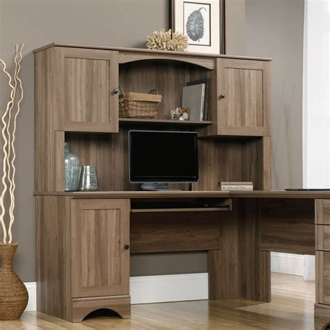 Sauder Harbor View Computer Desk With Hutch Salt Oak Corner Computer Desk With Hutch Sauder 417586 Harbor View Salt Oak Corner Computer Desk With