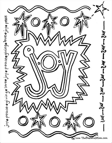 Coloring Page Joy The Peaceful Mom Joys Coloring Pages Page