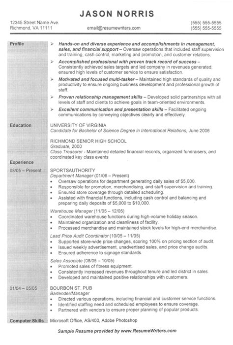 sales associate resume exle sle sales resumes