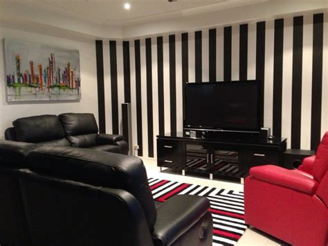 Striped Wallpaper Living Room Ideas by Black And White Striped Wallpaper Brisbane Living Room Brisbane By Wow