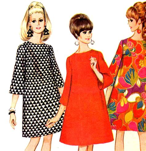 pattern trapeze dress vintage 1960 s mod mccall s 8766 trapeze dress with