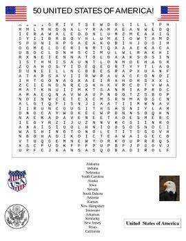 U S A Search United States Word Search Puzzle Student The O Jays And Words