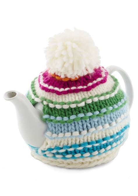 knitted teapot covers cup of cozy teapot mod retro vintage kitchen modcloth