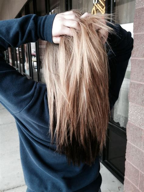 hair colors brown on bottom blonde on top blonde hair with brown underneath hair pinterest